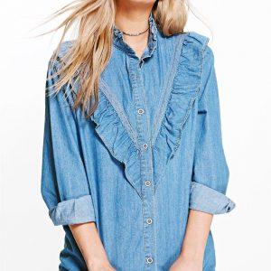 Chemise jean à volants